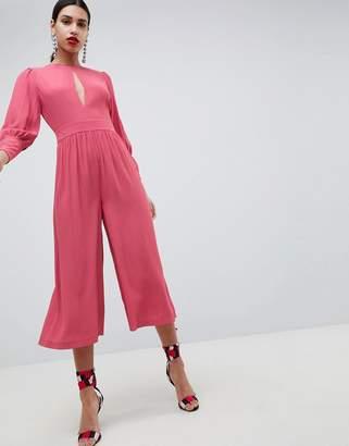 Asos Design DESIGN 40's tea jumpsuit with sleeve detail-Pink