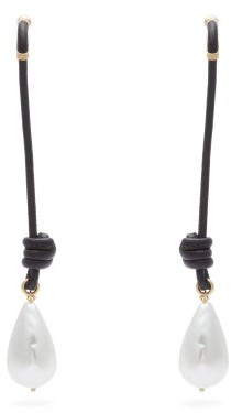 Burberry Faux-pearl And Knotted-cord Drop Earrings - Womens - Black Gold