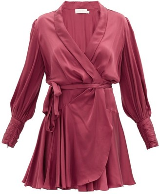 Zimmermann Gathered-cuff Silk-satin Wrap Dress - Burgundy