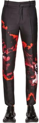 Alexander McQueen 17CM FLORAL PRINT WOOL & SILK PANTS