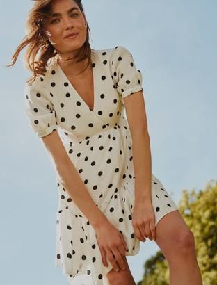 Forever New Ainsley Smock Mini Dress - Noir Spot - 10