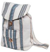Handwoven Alpaca Blend White and Blue Backpack Bag, 'Cloud Brushed Sky'