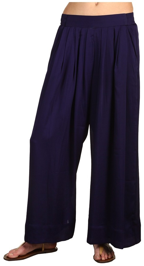 BCBGeneration Solid Wide Leg Pleated Pant (Midnight) - Apparel