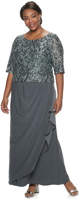 Le Bos Plus Size Embroidered Sequin Long Dress