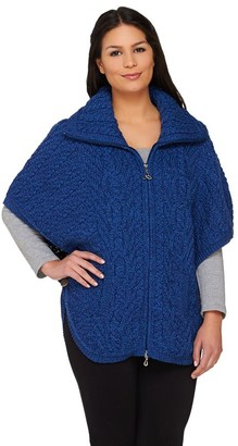 Aran Craft Merino Wool Zip Front Cape