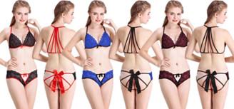 Luna Intimates Angelique Women Sexy Lingerie Floral Lace Bralette Bow Bra and Underwear Sleepwear Nightwear G-String 2 Piece Set