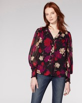 Vince Camuto Floral-print Smocked-cuff Blouse