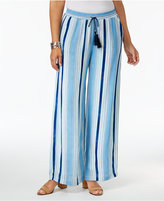 NY Collection Petite Striped Pull-On Palazzo Pants