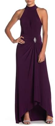 Marina Draped Skirt Halter Neck Dress