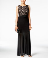 R & M Richards Petite Lace Pleated Mermaid Gown