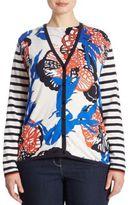 Basler, Plus Size Coral Printed Knit Cardigan