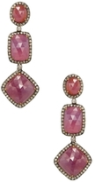 Artisan 18K Gold, Ruby & 2.18 Total Ct. Diamond Triple Drop Earrings