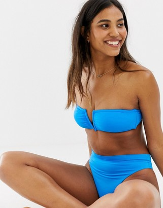 Seafolly electric blue V wire bandeau bikini top in blue