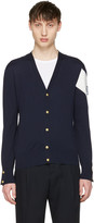 Moncler Gamme Bleu Navy Contrast Sleeve Cardigan
