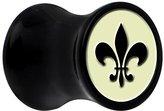 Body Candy Black Acrylic Glow in the Dark Fleur De Lis Saddle Plug Pair 7mm