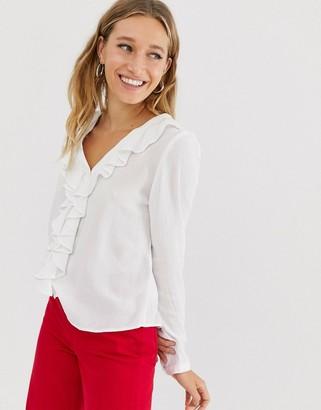 Monki v-neck frill blouse in off white