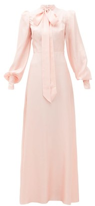 The Vampire's Wife Pussy-bow Silk-twill Gown - Light Pink