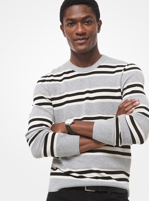 Michael Kors Striped Textured-Knit Cotton Sweater