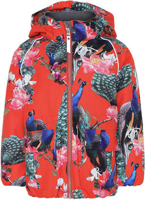Molo Girl's Cathy Peacock Print Functional Waterproof Jacket, Size 4-6