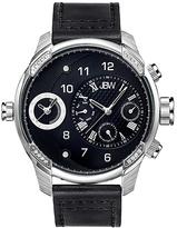 JBW Silvertone & Black G3 Leather-Strap Watch - Men