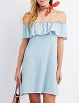 Charlotte Russe Chambray Off-The-Shoulder Shift Dress