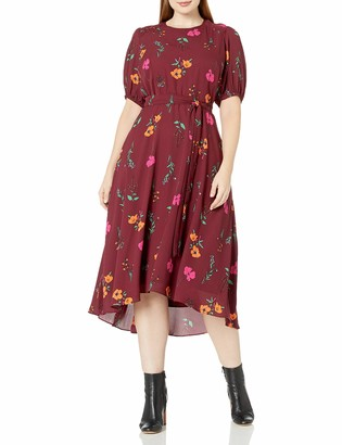 Donna Morgan Women's Plus Size Floral Georgette High-Low Dress