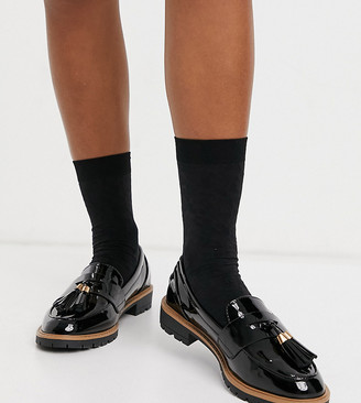 New Look Wide Fit patent chunky loafers in black