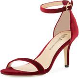 Neiman Marcus Anavia Mid-Heel Velvet Sandal