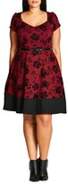 City Chic Flocked Lover Fit & Flare Dress (Plus Size)