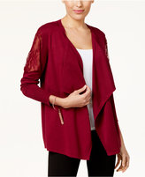 Thalia Sodi Lace-Inset Open-Front Cardigan, Created for Macy's