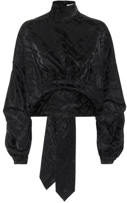 Balenciaga Upside Down satin-jacquard blouse