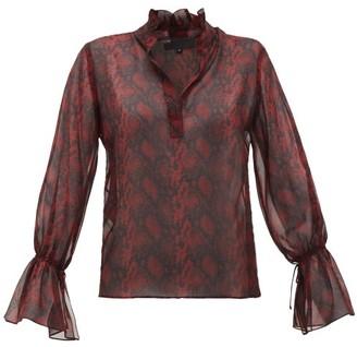 Nili Lotan Ruffled Snake-print Silk-chiffon Blouse - Burgundy