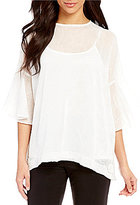 IC Collection Drop Shoulder Ruffle Sleeve Tunic