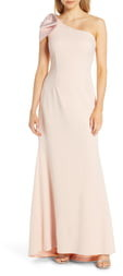 Eliza J One-Shoulder A-Line Gown