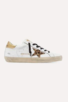 Golden Goose Superstar Distressed Leather And Leopard-print Calf Hair Sneakers - White