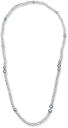"BELPEARL 18k White Gold Long Silver, Blue & Gray Pearl Necklace, 40""L"