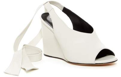 Derek Lam Maude Ankle Tie Nappa Leather Woven Wedge Pump