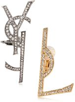 Saint Laurent Monogram Crystal Clip-On Earrings