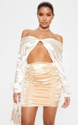 PrettyLittleThing Peach Satin Ruched Detail Mini Skirt