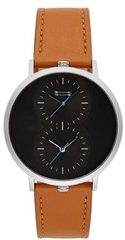 Uri Minkoff Griffith Silver Tone Tan Leather Strap Watch, 43MM