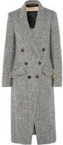 Burberry Double-breasted Herringbone Tweed Coat - Dark gray