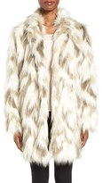 Tahari Women's Phoebe Multicolor Faux Fur Coat