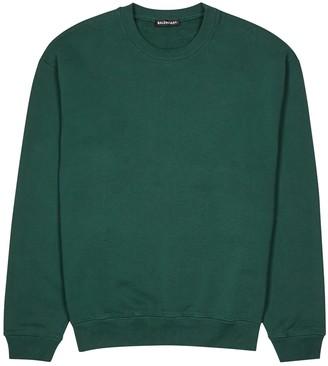 Balenciaga Green Logo-print Cotton Sweatshirt