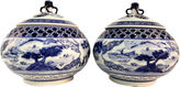 One Kings Lane Vintage Blue & White Lidded Tea Canisters, Pr