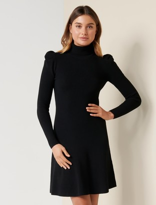 Forever New Nicole Puff-Sleeve Knit Dress - Black - 10