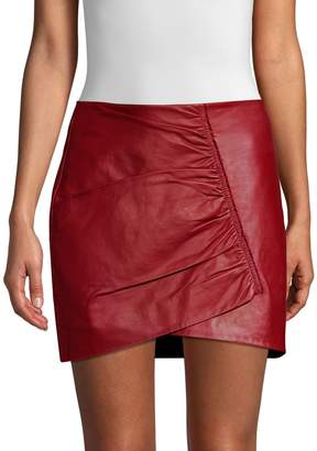 Robert Rodriguez Taylor Gathered Leather Mini Skirt