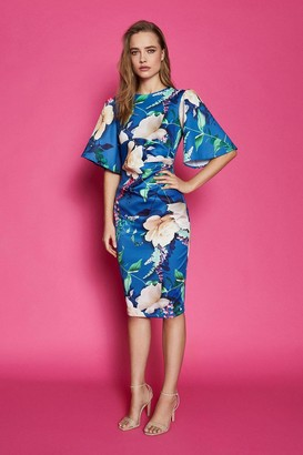 Coast Printed Flare Sleeve Scuba Dress