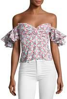 Caroline Constas Louisa Printed Cotton Top, Pink