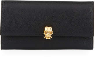 Alexander McQueen Grained Leather Skull-Clasp Continental Wallet, Black