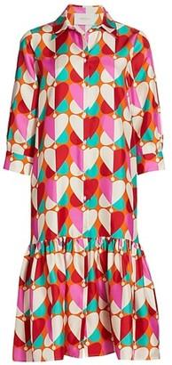 La DoubleJ Getting My Croissant Heart Print Silk Midi Shirtdress